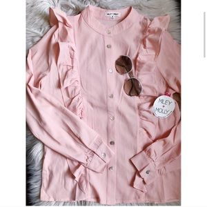 Miley + Molly Pink Button Up Ruffle Top Size Small